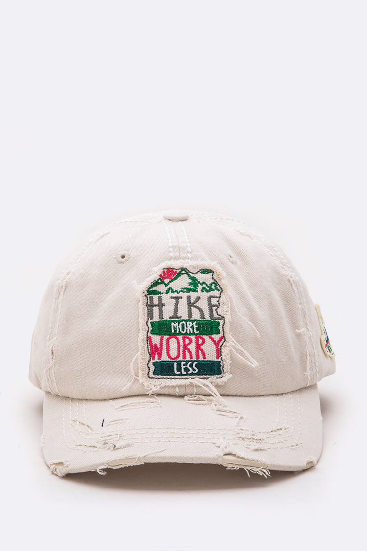 Hike More Worry Less Distressed Cotton Cap