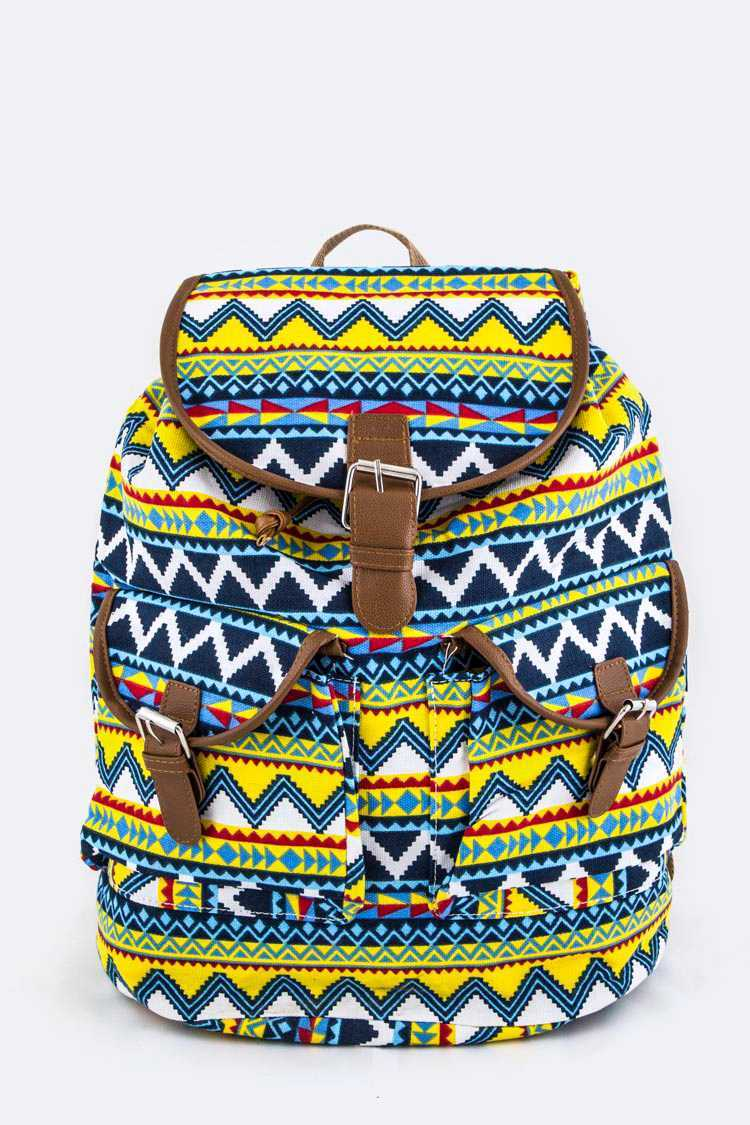 Tribal Pattern Canvas Backpack