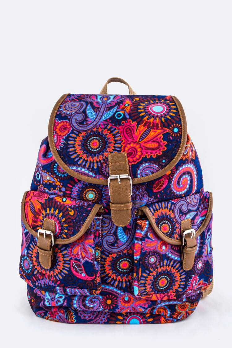 Paisley Pattern Canvas Backpack