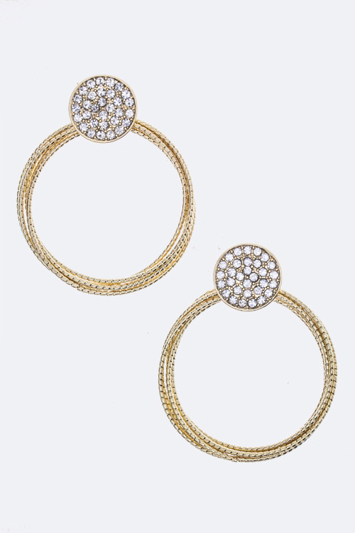 Crystal Disk & Layer Hoop Earrings