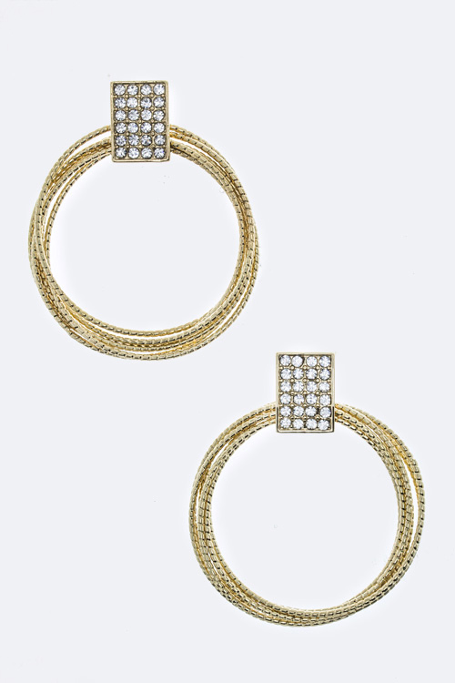 Square Crystal & Layer Hoop Earrings