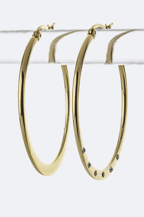 Paved Crystal Stainless Steel Hoop Earrings - M