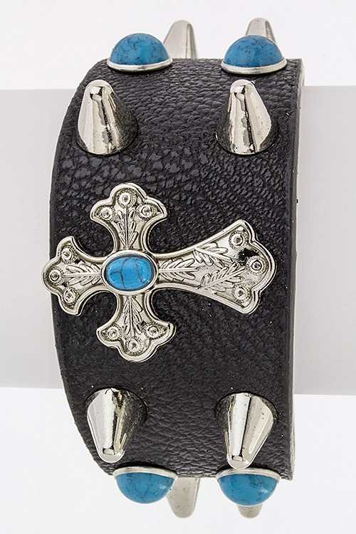 Cross & Spikes Turquoise Cuff