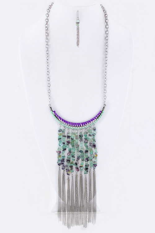Quartz Nugget Tassels Necklace Set