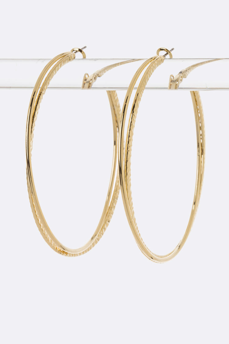 Layer Metal Hoop Earrings