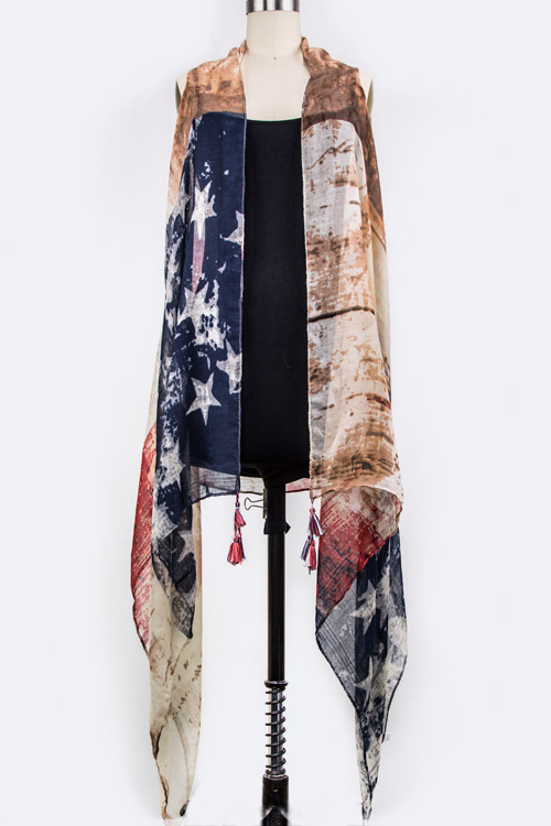 Grunged American Flag Vest Shawl