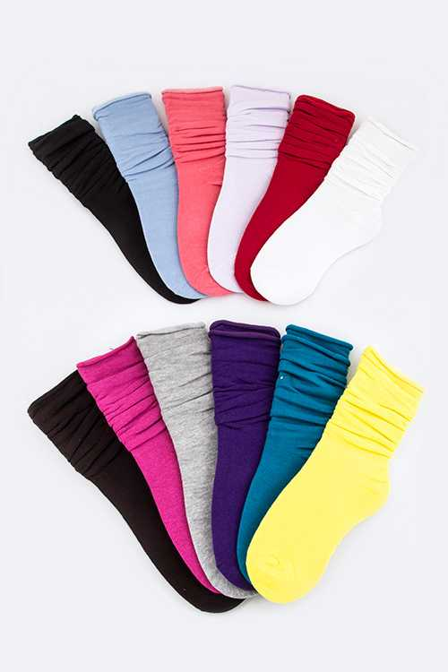 Roll Edge Jersey Knit Layering Bootie Socks