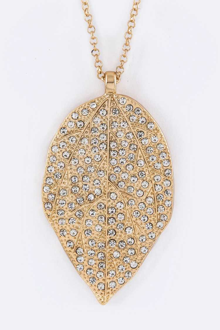 Pave Crystals Leaf Pendant Necklace Set