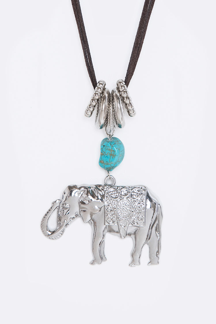 Turquoise Pebble & Elephant Pendant Necklace
