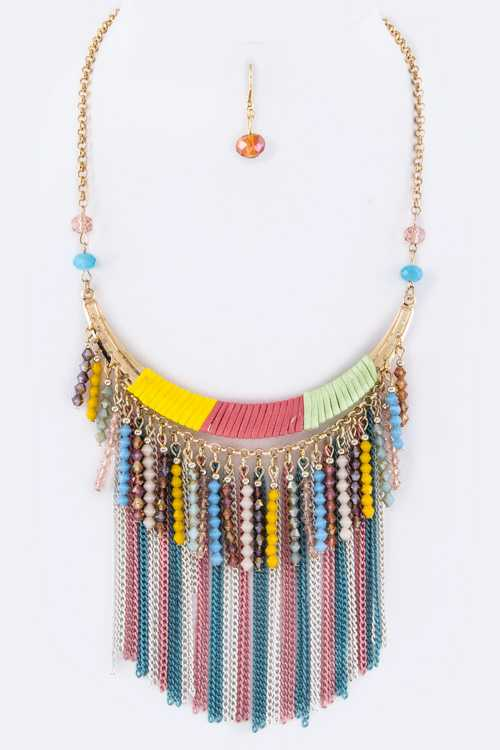 Fringe Beads & Chain Collar Necklace Set