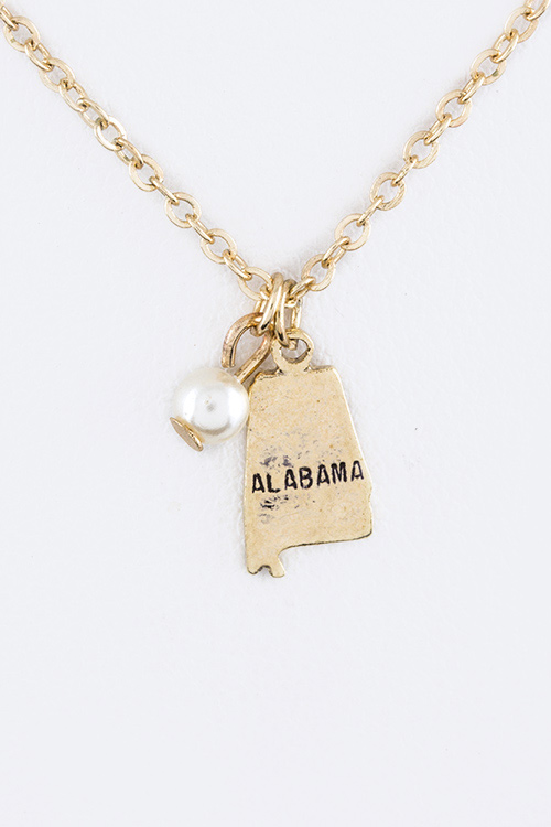 Petite Alabama Map Charm Necklace