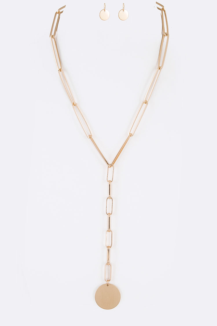 Disk Pendant Iconic Chain Drop Necklace Set