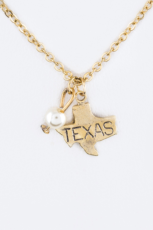 Petite Texas Map Charm Necklace