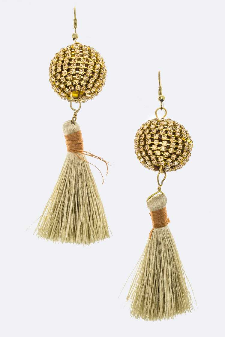 Crystal Ball & Tassel Earrings
