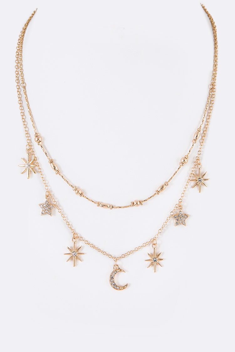 Moon & Star Fringe Layer Necklace