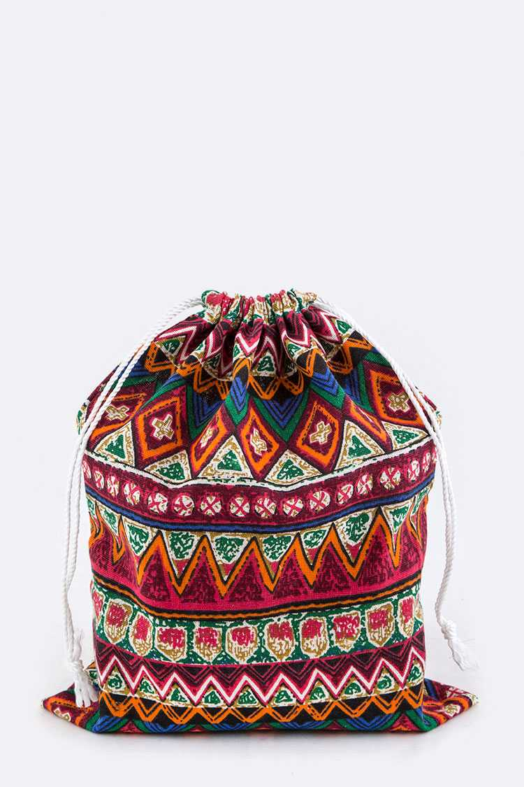 Tribal Print Canvas Pouch - M