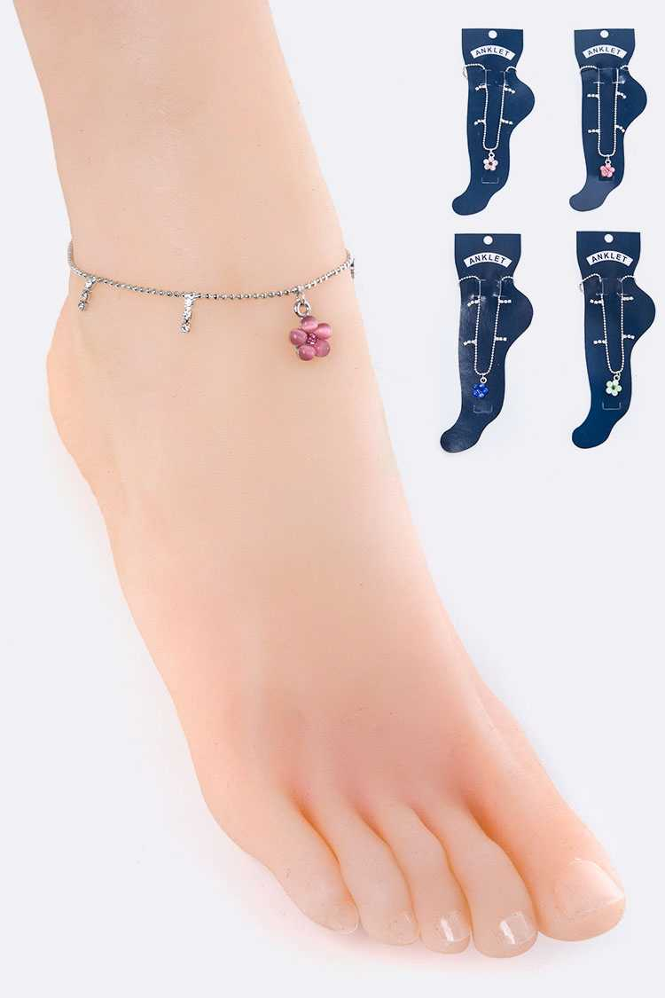 Crystal Flower Charm Ball Chain Anklet