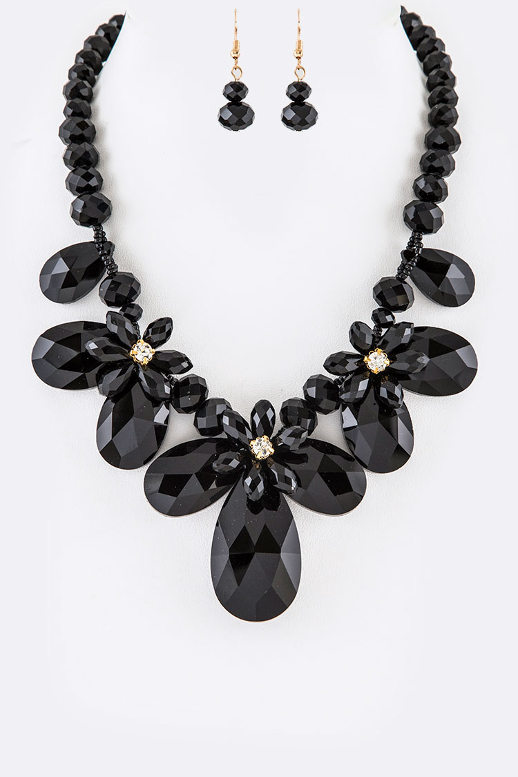 Crystal Iconic Floral Necklace Set