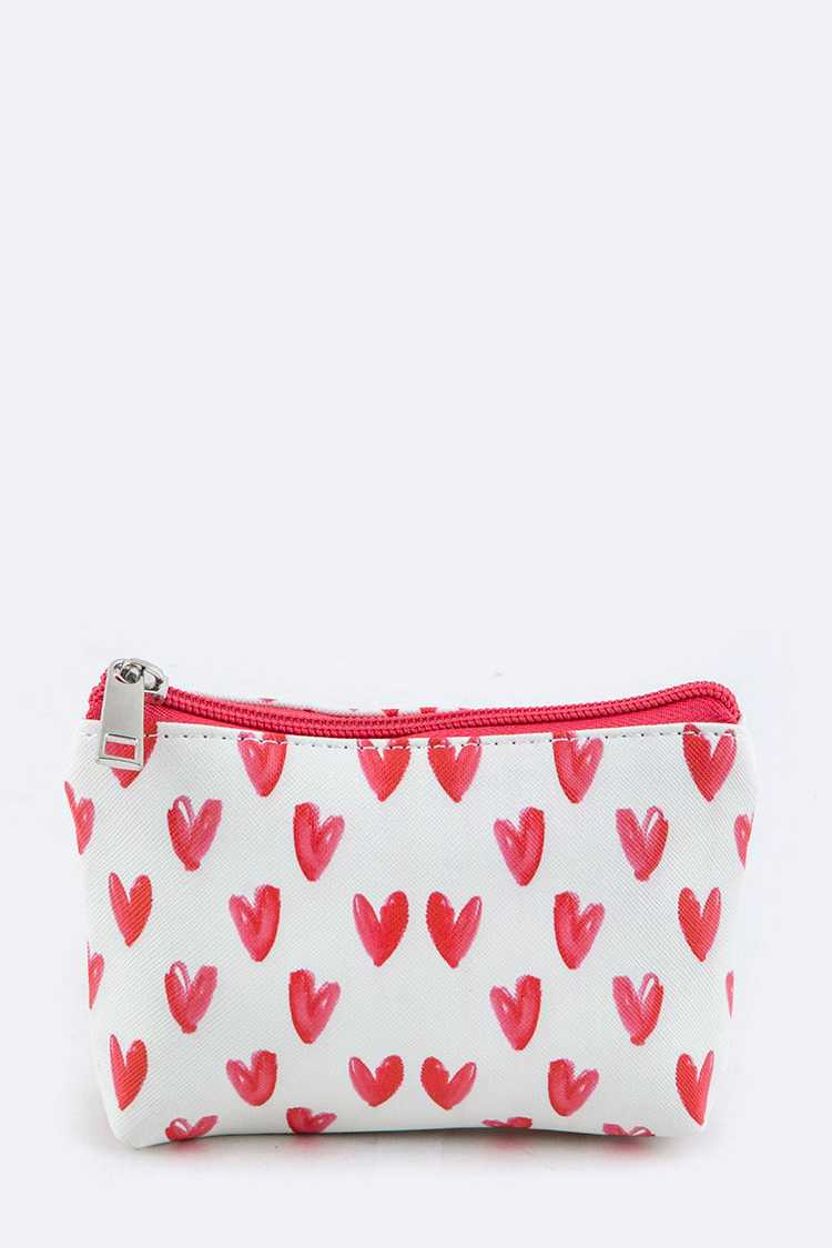 Heart Print Mini Pouch