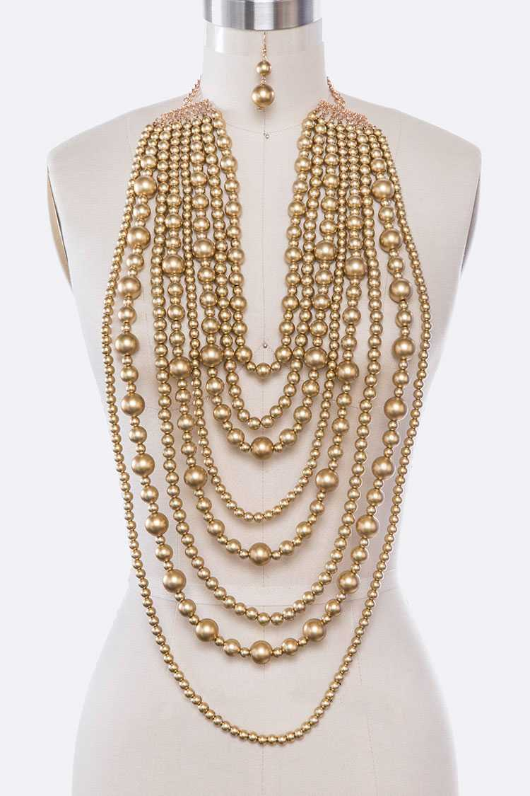 Mix Strand Pearls Statement Necklace Set