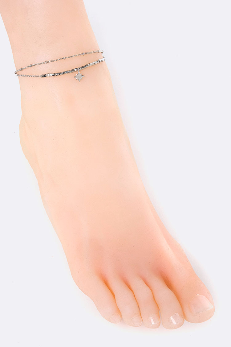 Metal Beads & Star Charm Layer Anklet