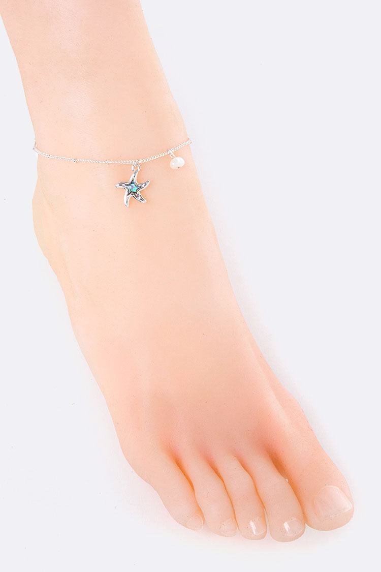 Starfish & Pearl Charms Anklet