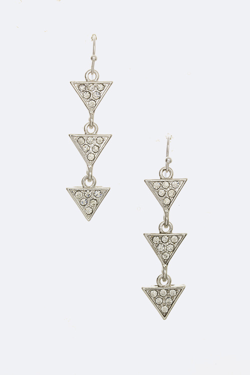 Crystal Triangle Drop Earrings