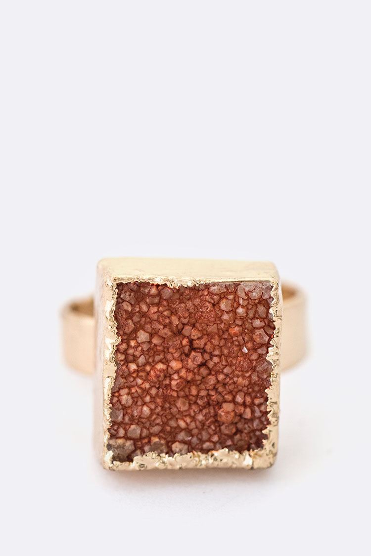 Gold Painted Genuine Druzy Adjustable Ring