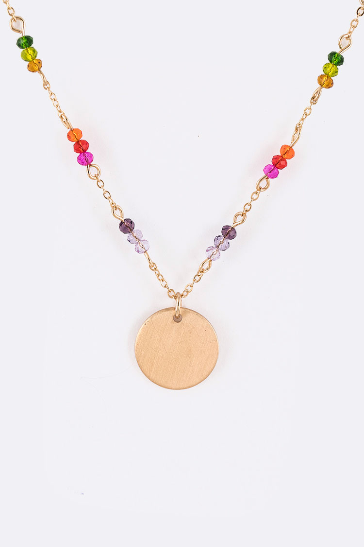 Rainbow Crystal Station Disk Pendant Necklace Set