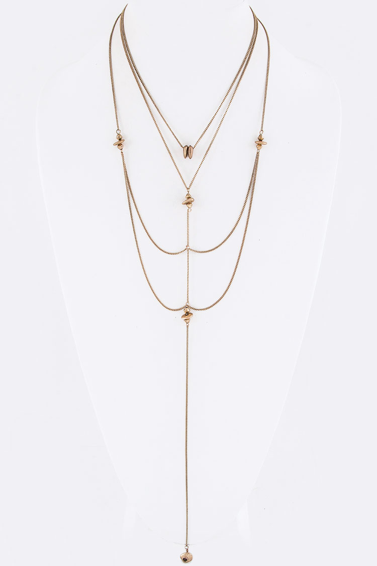Metal Nagget Drop Layer Necklace