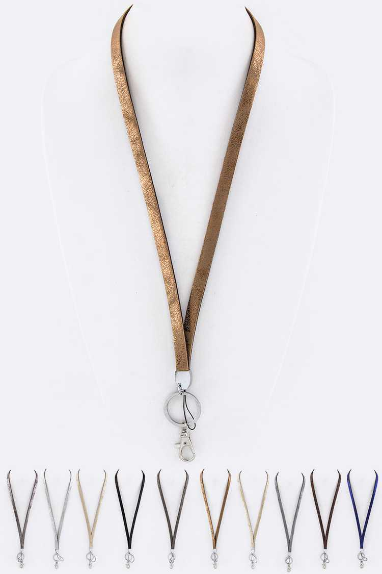 Metallic Faux Leather Lanyard