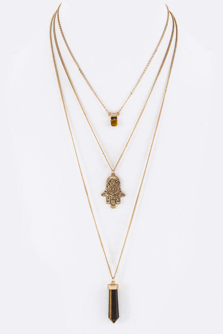 Hamsa & Stone Charms Layer Necklace