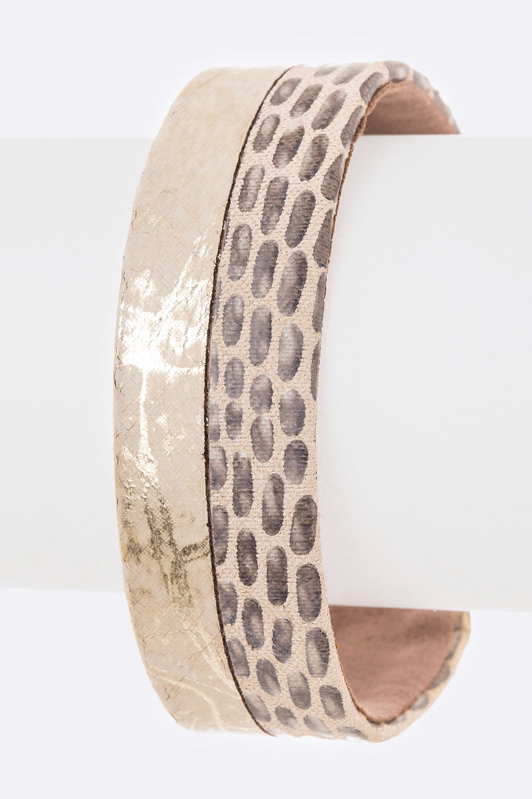 Mix Texture Leather Cuff