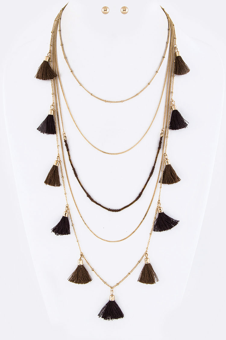 Tassels & Beads Layer Necklace Set