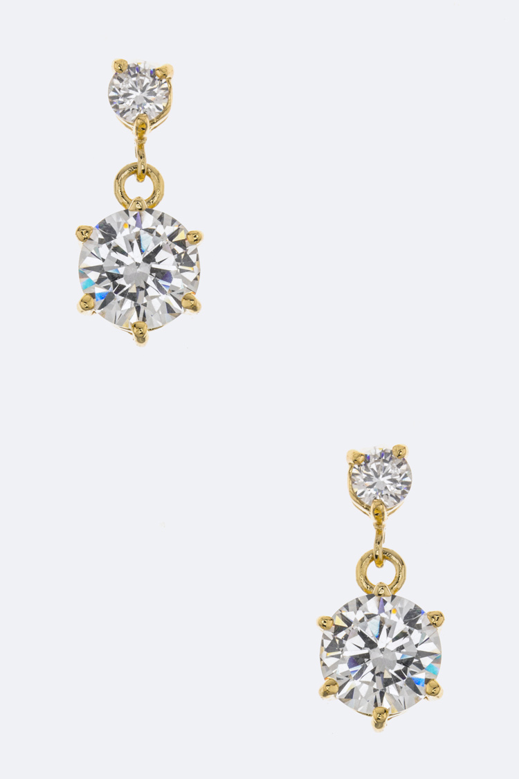 Cubic Zirconia Single Drop Earrings