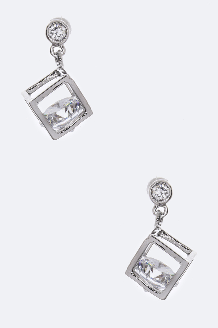 Cube Drop CZ Earrings