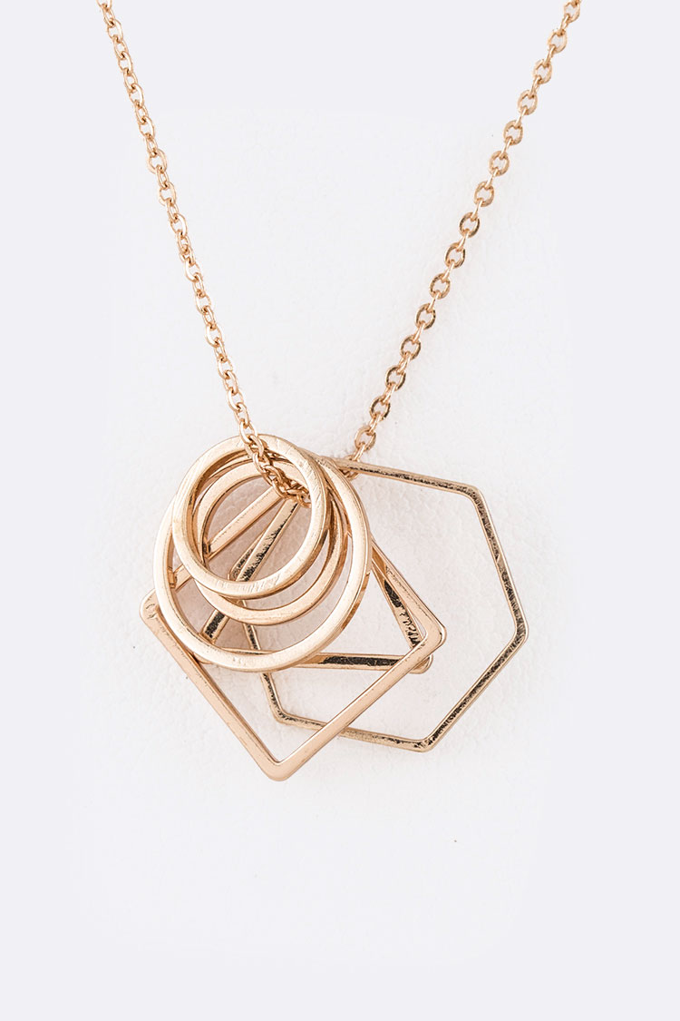 Mix Geo Ring Sliding Pendant Necklace