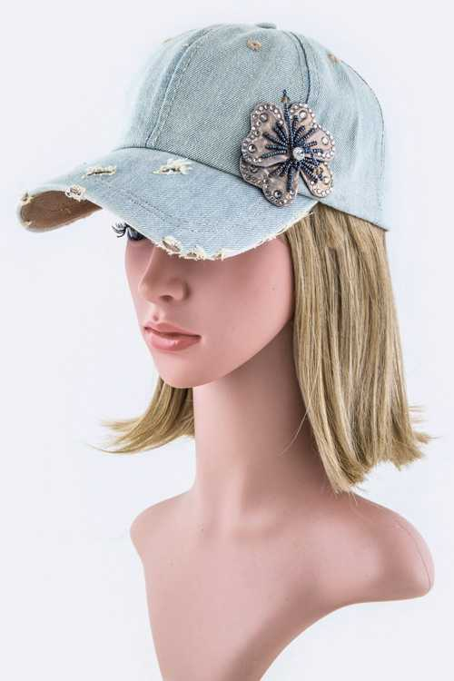 Bead & Crystal Flower Fashion Denim Cap