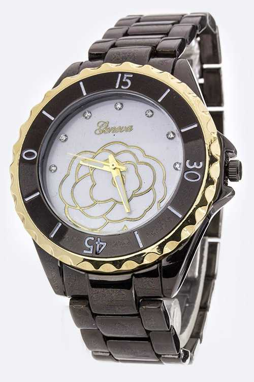 Rose Stencil Overlay Fashion Bracelet Watch