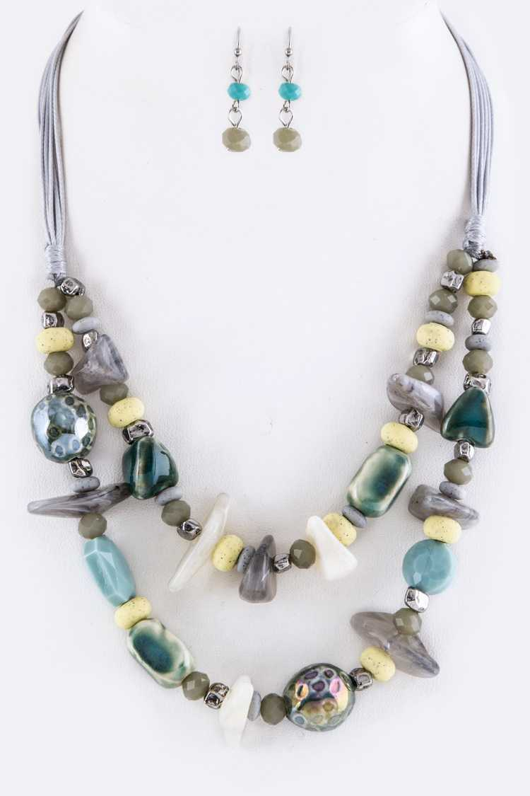 Mix Beads & Semi Precious Nuggets Layer Necklace Set