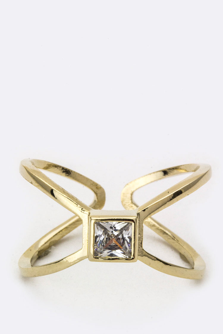 Square CZ Cross Ring