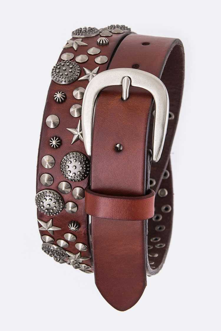 Mix Studs Hipster Leather Belt