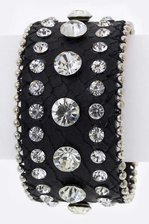 Crystal Studs Embossed Leather Cuff