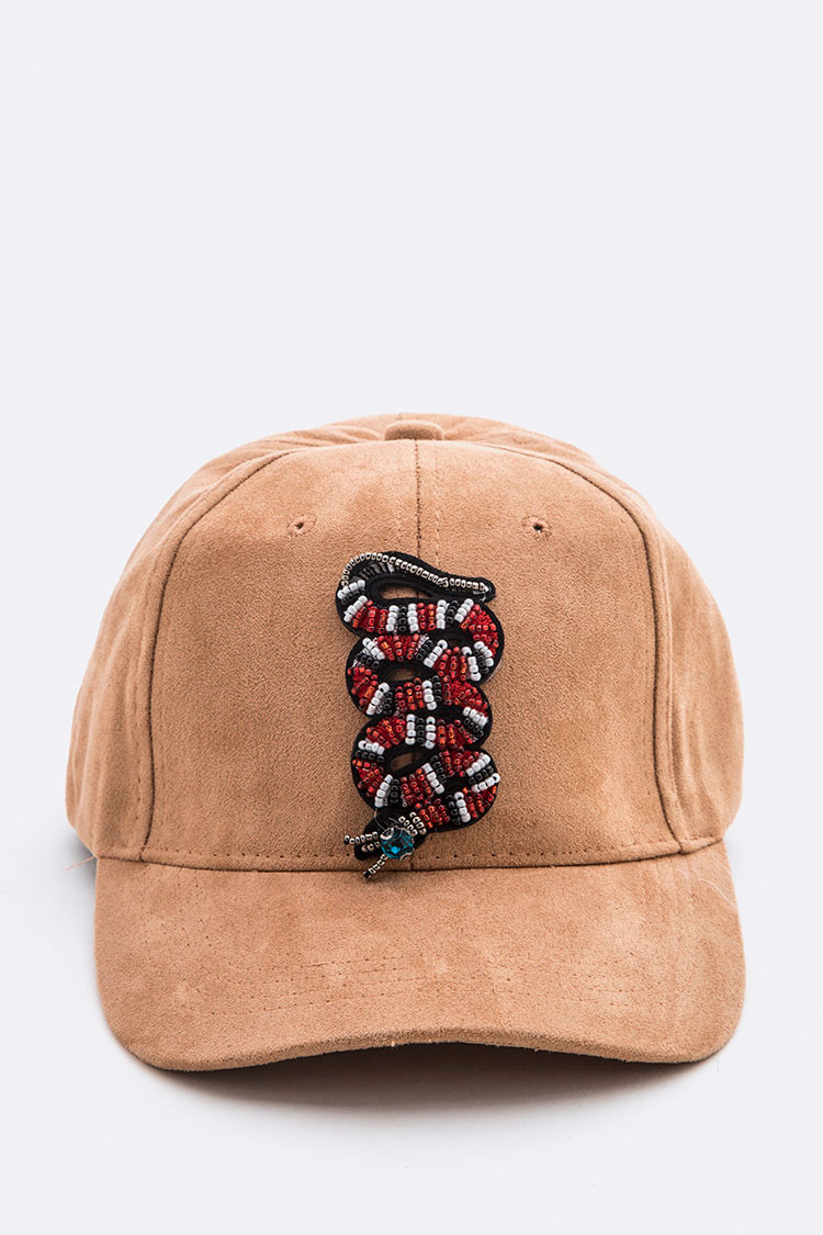 Beaded Snake Iconic Sueded Cap