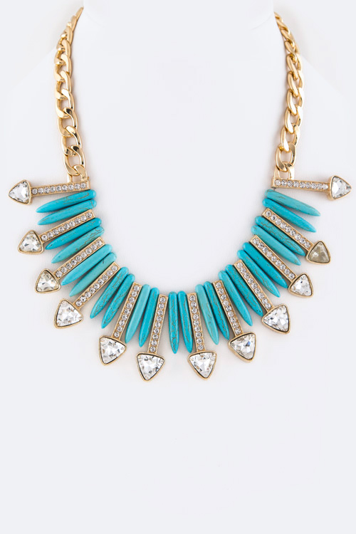 Precious Stone & Crystal Bars Statement Necklace