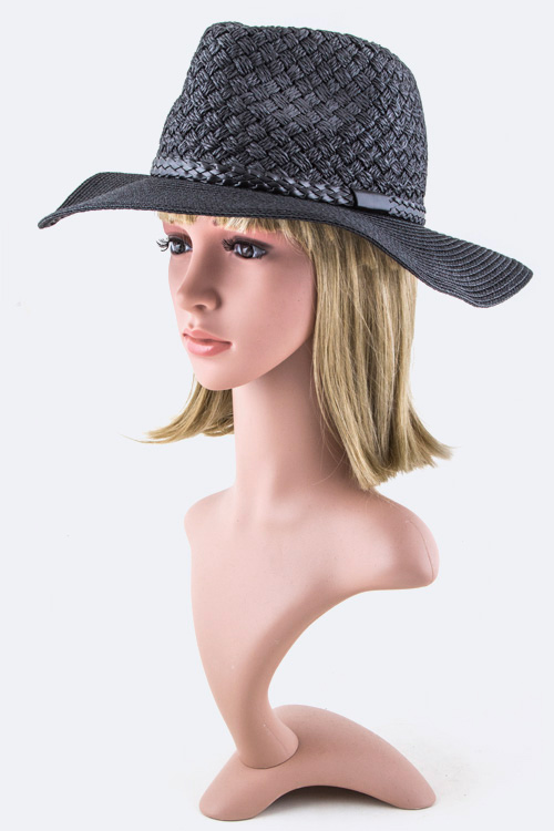 Braided Leather Band Fashion Panama Hat