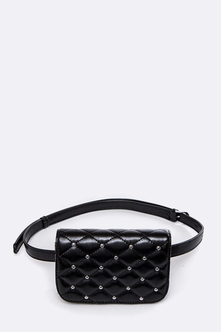 Studs Quilted Fanny Bag
