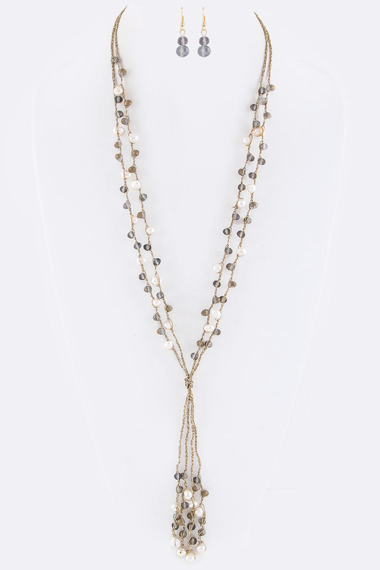 Pearl & Mix Beads Layer Necklace Set