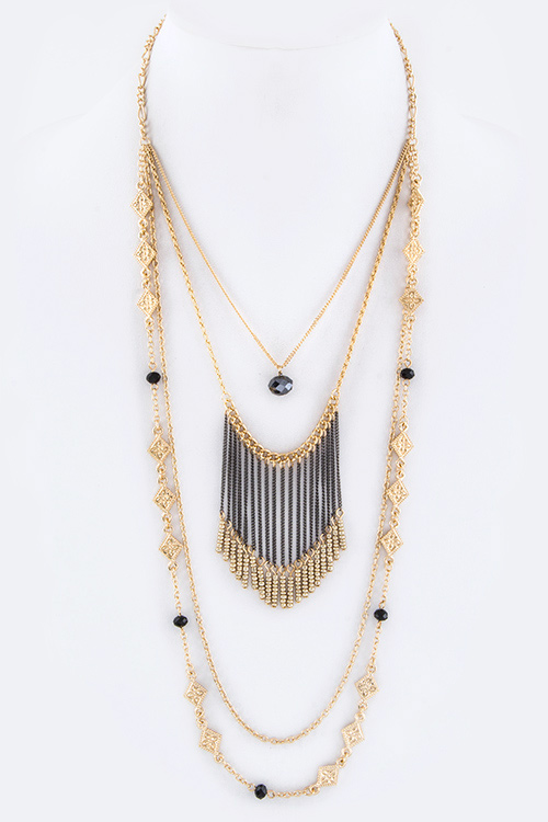 Fringe Bead Layer Necklace