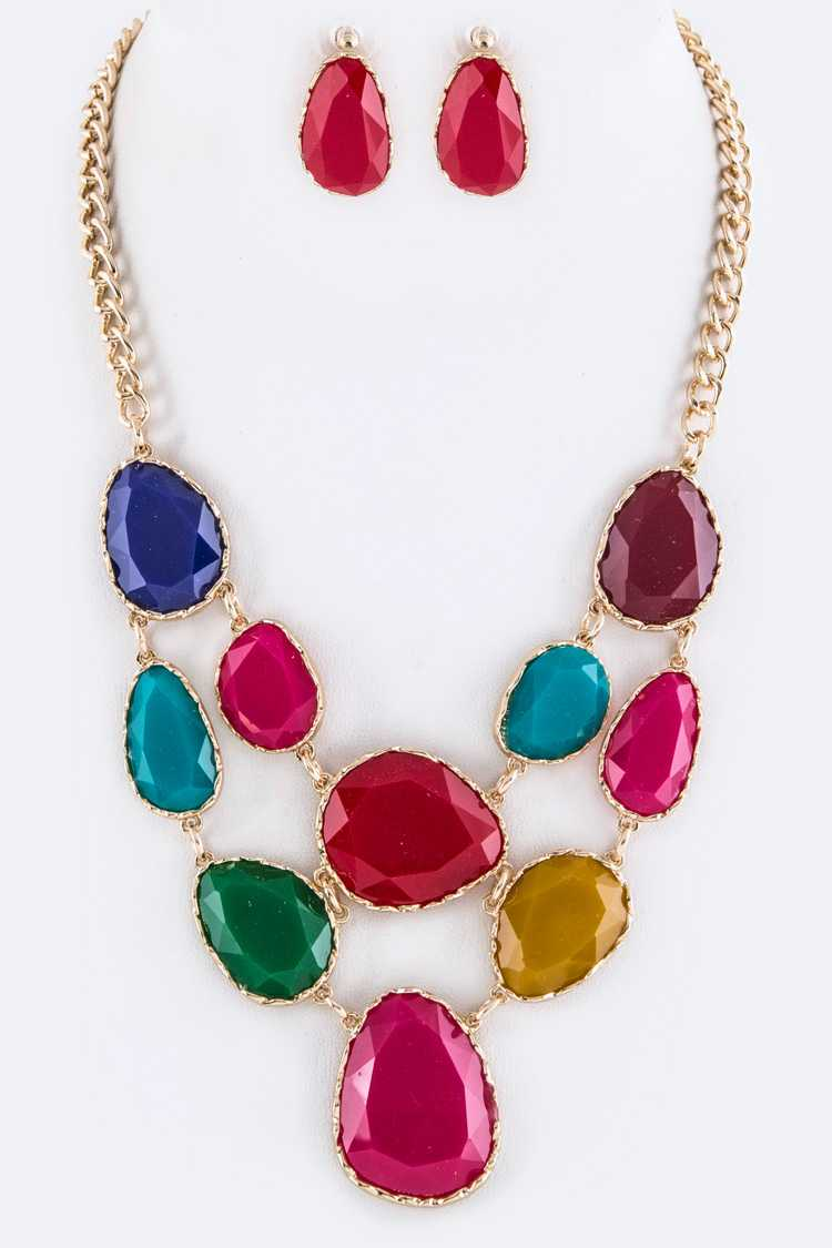 Resin Stones Layer Statement Necklace Set